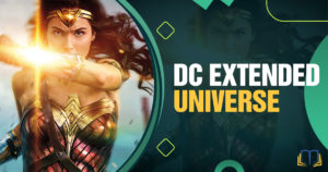 banner image with wonder woman that says dc extended universe