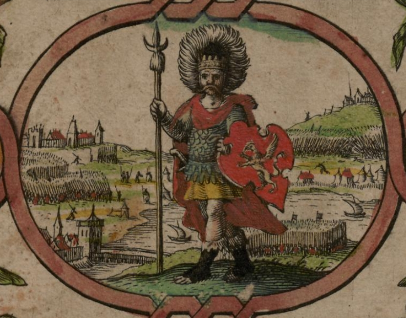 A depiction of Cerdic from the 1611 Saxon Heptarchy