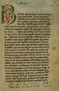 A page from the Anglo-Saxon Chronicle mentioning Cerdic of Wessex.