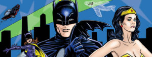 banner art for the timeline of batman '66, green hornet, and wonder woman '77