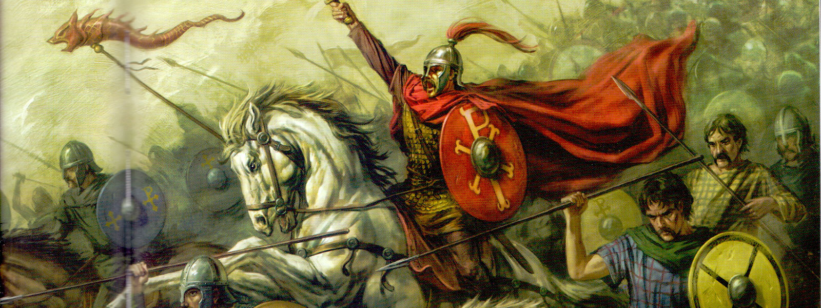 King Arthur, real or not, riding into battle.