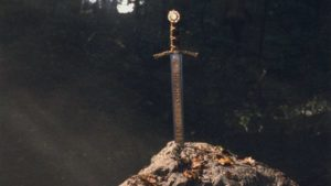 An artistic version of the sword in the stone.