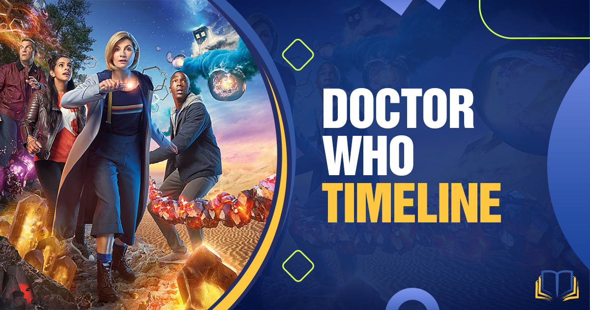 banner with 13th doctor who and text that says Doctor Who Timeline