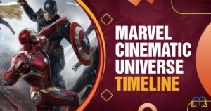 banner with captain america and iron man fighting and text that reads Marvel Cinematic Universe timeline.
