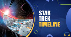 banner with art of the enterprise and text that says star trek timeline