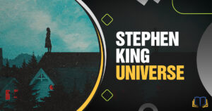 banner with a little girl on a housetop at night and text that reads Stephen King Universe
