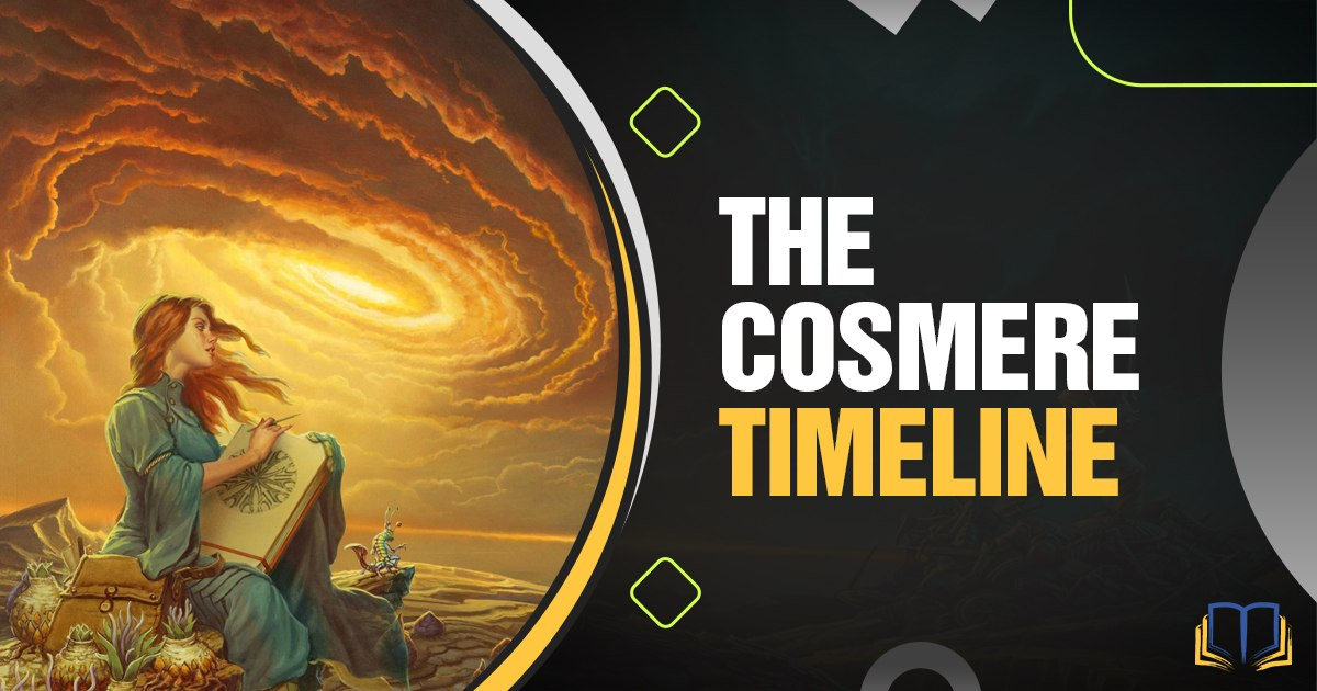 banner with art from the books and text that says the cosmere timeline