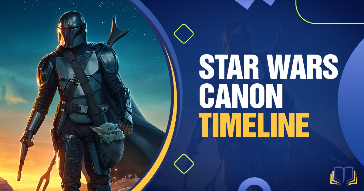 banner with the mandalorian and text that says Star Wars Canon timeline.