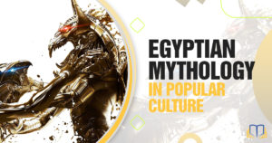 Banner of egyptian art that says Egyptian Mythology in Popular Culture